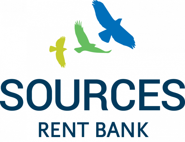 SOURCES logo with yellow, green, and blue birds flying towards the top right corner away from the logo